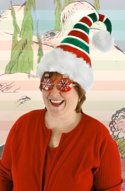 Ridged Red and Green Holiday Hat