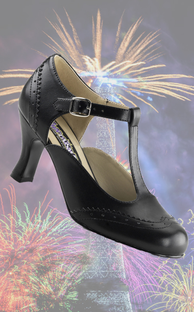 Formal Black Flapper Shoe - Roaring 20s