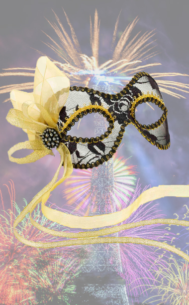 Black Lace Masquerade Mask with Gold Ribbon