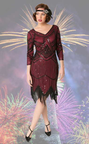 Adult Noemie Red Sequined Flapper Dress